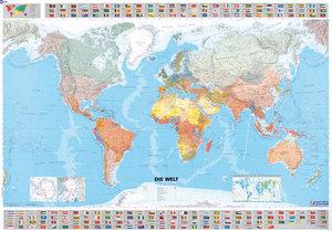 Michelin Welt 1 : 28 500 000. Poster-Karte mit Leiste. Plano. De
