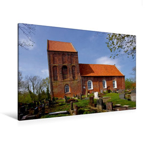 Premium Textil-Leinwand 120 cm x 80 cm quer Schiefer Turm von Su