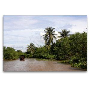 Premium Textil-Leinwand 120 cm x 80 cm quer Im Mekong Delta