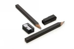 Black Pencil Set With Cap And Sharpener