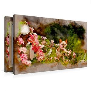 Premium Textil-Leinwand 75 cm x 50 cm quer Kätzchen hinter Blume