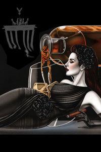 Premium Textil-Leinwand 80 cm x 120 cm hoch somking Lady in the