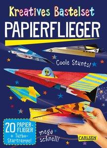 Kreatives Bastelset: Papierflieger: Set mit 20 Faltbögen, Anleit