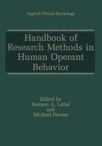 Handbook of Research Methods in Human Operant Behavior