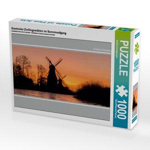 Greetsieler Zwillingsmühlen im Sonnenaufgang 1000 Teile Puzzle q