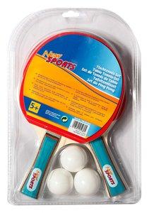 New Sports Tischtennis-Set, 2 Schläger + 3 Bälle