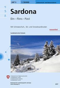Swisstopo 1 : 50 000 Sardona Schneeschuh- und Skitourenkarte