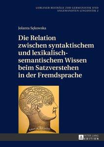 Die Relation zwischen syntaktischem und lexikalisch-semantischem