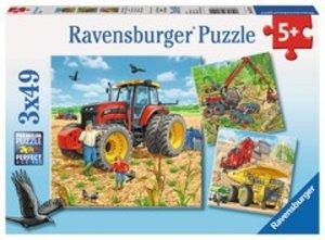 Ravensburger 080120 - Große Maschinen, 3x49 Teile, Kinderpuzzle