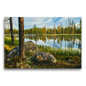 Premium Textil-Leinwand 75 cm x 50 cm quer Atemberaubende Seenla