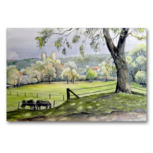 Premium Textil-Leinwand 90 cm x 60 cm quer Landschaft am Saaleck