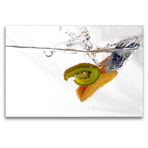 Premium Textil-Leinwand 120 cm x 80 cm quer Kiwi trifft Orange