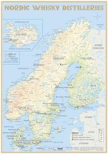 Nordic Whisky Distilleries - Tasting Map 24x34cm