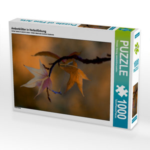 Amberblätter in Herbstfärbung 1000 Teile Puzzle quer