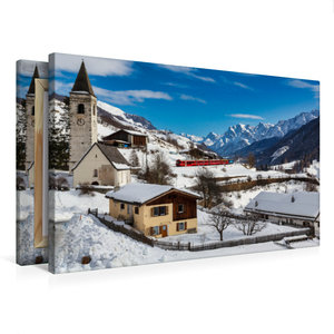 Premium Textil-Leinwand 75 cm x 50 cm quer Unterengadin: Engadin
