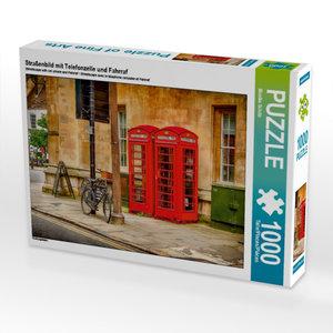 Straßenbild mit Telefonzelle und Fahrraf 1000 Teile Puzzle quer