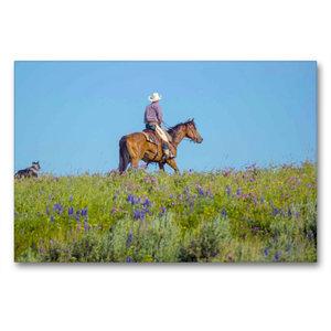 Premium Textil-Leinwand 90 cm x 60 cm quer Cowboy mit Hund und P