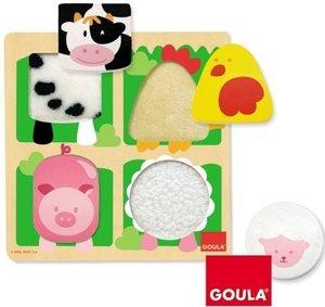 Jumbo Spiele D53014 - Holzpuzzle: Bauernhoftiere mit Plüsch