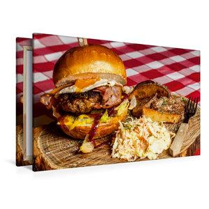 Premium Textil-Leinwand 120 cm x 80 cm quer Rustikaler Hamburger