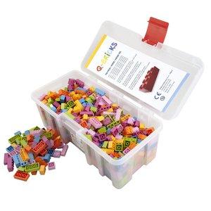 Bausteine Maxi Mix Box 750 Teile in Floral Farben in praktischer