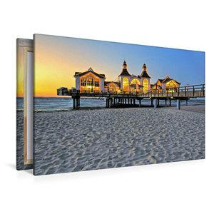 Premium Textil-Leinwand 120 cm x 80 cm quer Sonnenuntergang an d
