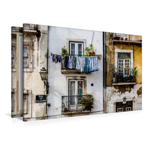 Premium Textil-Leinwand 120 cm x 80 cm quer Häuserfassade