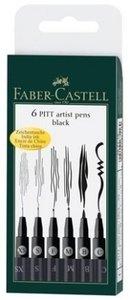 Tuschestift PITT artist pen schwarz 6er Etui