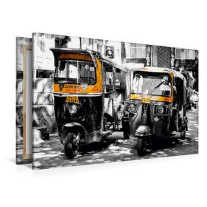 Premium Textil-Leinwand 120 cm x 80 cm quer Indien - Tuk Tuk
