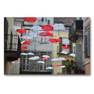 Premium Textil-Leinwand 90 cm x 60 cm quer schwebende Schirme