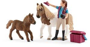 Schleich 42362 Pferdepflegerin mit Shettys