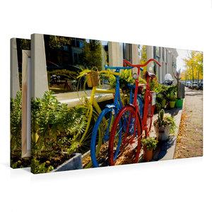 Premium Textil-Leinwand 75 cm x 50 cm quer Bunte Fahrräder