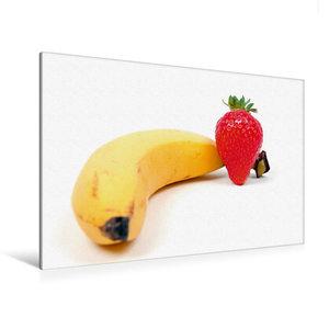 Premium Textil-Leinwand 120 cm x 80 cm quer Banane mit Erdbeere