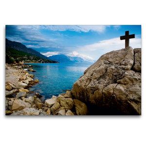 Premium Textil-Leinwand 120 cm x 80 cm quer Adriatische Küste be