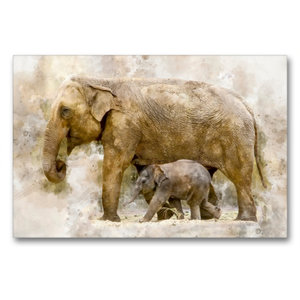 Premium Textil-Leinwand 90 cm x 60 cm quer Elefanten - künstleri