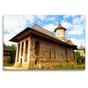 Premium Textil-Leinwand 120 cm x 80 cm quer Kloster Moldovita