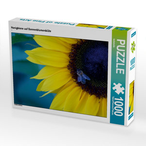Honigbiene auf Sonnenblumenblüte 1000 Teile Puzzle quer