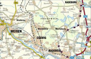 Friedewald - Moritzburger Teichgebiet - Spaargebirge 1 : 33 000