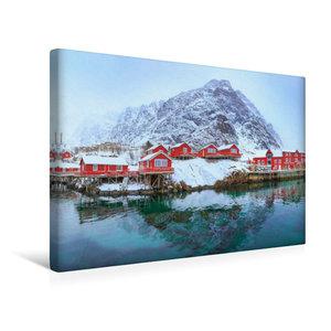 Premium Textil-Leinwand 45 cm x 30 cm quer Fischerdorf A i Lofot