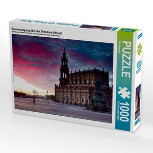 Sonnenaufgang über der Dresdner Altstadt 1000 Teile Puzzle quer