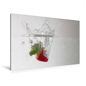 Premium Textil-Leinwand 120 cm x 80 cm quer Erdbeere