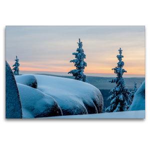 Premium Textil-Leinwand 120 cm x 80 cm quer Winterstimmung auf d