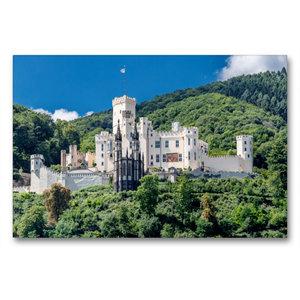Premium Textil-Leinwand 90 cm x 60 cm quer Schloss Stolzenfels -
