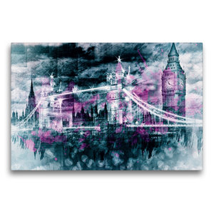 Premium Textil-Leinwand 75 cm x 50 cm quer LONDON Collage