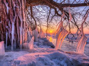 CALVENDO Puzzle Eiszapfen am Südufer der Müritz nach Wintersturm