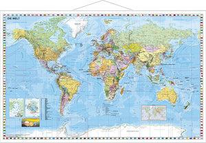 Weltkarte deutschsprachig. Wandkarte mit Metallleiste