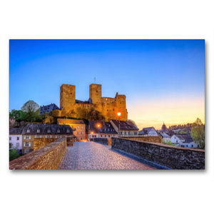 Premium Textil-Leinwand 90 cm x 60 cm quer Burg Runkel in der Ab