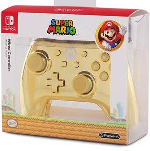 PowerA Wired Controller, Super Mario, Chrome Gold Mario-Design,