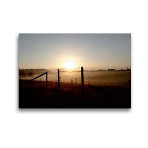 Premium Textil-Leinwand 45 cm x 30 cm quer Sonnenaufgang im Nebe