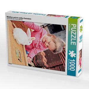 Mädchen und ein weißes Kaninchen 1000 Teile Puzzle hoch