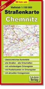 Neunzig km um Chemnitz 1 : 150 000. Straßenkarte